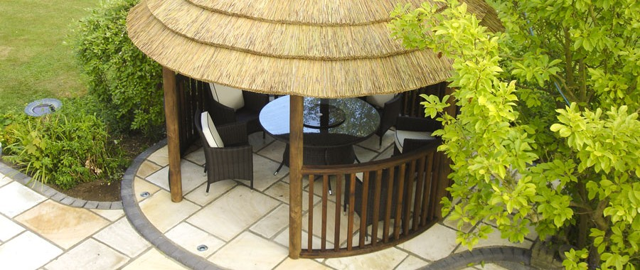 thatched roof garden buildings